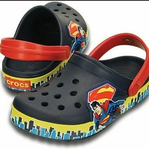 Kids Glow in the dark Superman Crocs Clogs NEW